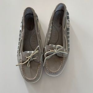 SPERRY TOP SIDERS, gray and silver, size 8